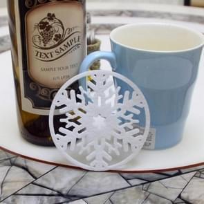 10 stuks Merry Christmas decoraties sneeuwvlokken Cup pad niet-geweven stof diner partij schotel lade koffie pads (wit)