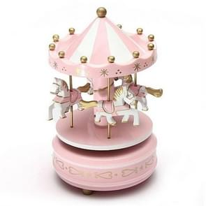Wooden Music Box Toy Home Decor Carousel Horse Music Box(Pink)