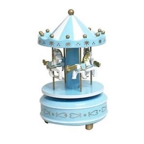 Wooden Music Box Toy Home Decor Carousel Horse Music Box(Blue)