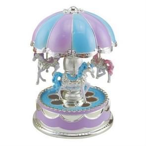 Merry-go-round carrousel muziekdoos speelgoed Swivel gloeiende carrousel paard elektronische muziekdoos (blauw)