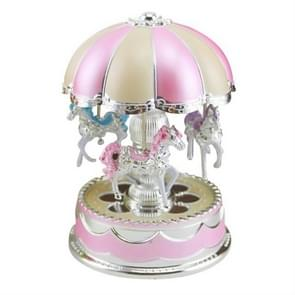 Merry-Go-Round Carousel Music Box Toy Swivel Glowing Carousel Horse Electronic Music Box(Pink)