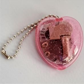 YKL-23 Mini Acrylic Heart-Shaped Music Box Key Chain(Magenta)