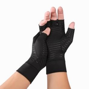 Zwarte vezel een paar sport ademend gezondheidszorg halve vinger handschoenen revalidatie opleiding artritis druk handschoenen  maat: L