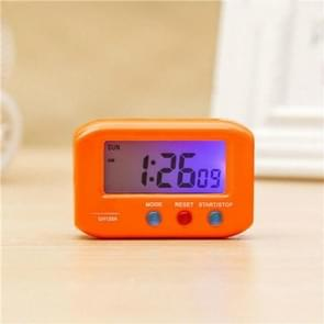 Portable Pocket Sized Digital Electronic Travel Alarm Clock Automotive Electronic Luminous Stopwatch LCD Clock(Yellow)