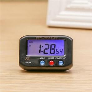 Draagbare Pocket formaat digitale elektronische reizen alarm klok Automotive elektronische lichtgevende stopwatch LCD-klok (zwart)