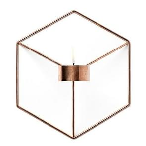 2 PCS Geometric Candlestick Metal 3D Modern Style Wall Candle Holder(Gold)