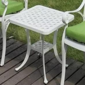 European Simple Casual Outdoor Iron Cast Aluminum Outdoor Small Round Table(White)