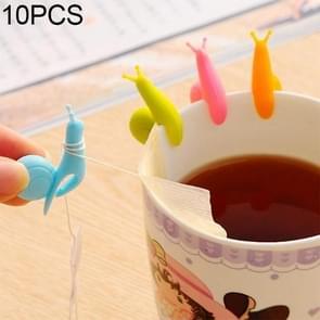 10 PCS Cute Snail Shape Silicone Tea Bag Holder Cup Mug Hanging Tool Tea Tools Random Color Delivery