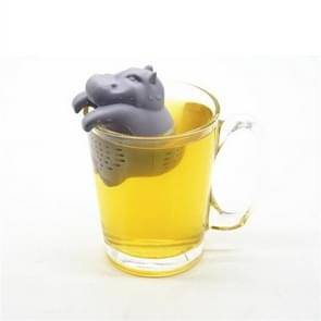 2 PCS Silicone Hippo Shaped Tea Infuser Reusable Tea Strainer Coffee Herb Filter For Home(Gray)