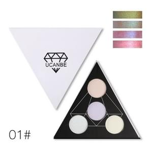 UCANBE  Triangle Glitter Eyeshadow Palette Holographic Shade Eye Lip Face Makeup Shimmer Shine Powder Nude Eye Shadow(01)