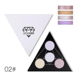 UCANBE  Triangle Glitter Eyeshadow Palette Holographic Shade Eye Lip Face Makeup Shimmer Shine Powder Nude Eye Shadow(02)