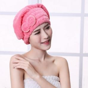 Microfiber Quickly Dry Hair Hat Hair Turban Women Cap Bathing Drying Towel, Size:21x25cm(Rose red)