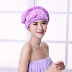 Microfiber Quickly Dry Hair Hat Hair Turban Women Cap Bathing Drying Towel, Size:21x25cm(Purple)