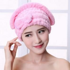 Microfiber Quickly Dry Hair Hat Hair Turban Women Cap Bathing Drying Towel, Size:21x25cm(Pink)