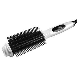 2 In 1 Multifunctional Electric Hair Straightener Curler Comb Anti-scald Flat Irons Brush Curling Tool(White)
