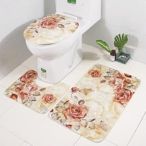 3 In 1 Anti-slip Toilet Seat Cover Toilet Mat Bathroom Bath Mat  Carpet Set(SY36)