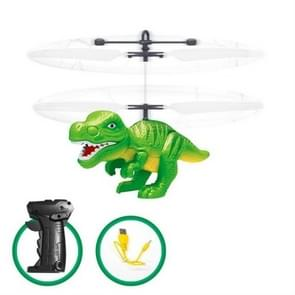Electric RC Flying Toy Infrared Sensor Dinosaur Model Helicopter LED Flash Lighting USB Charging Small RC Toy for Kids(Green)