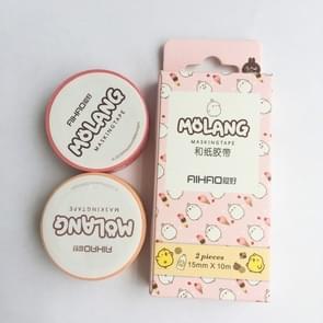 2 PC'S creatieve dierlijke huisdier konijn tape zelfklevende tape DIY scrapbooking sticker label ambachtelijke masking tape (roze)