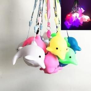 3 stuks aquarium creatieve gift kleurrijke knipperende Lanyard Dolphin dier nacht licht kinderen gloeiende speelgoed  grootte: 5 × 8cm (kleur willekeurige levering)