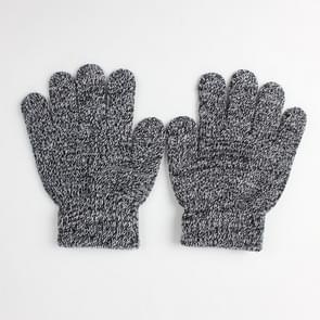 Winter warme handschoenen kinderen gebreid stretch wanten volledige vinger handschoen one size (zwart-wit)