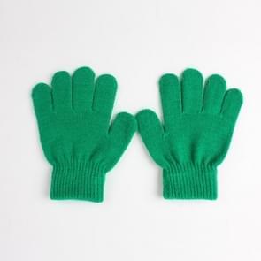 Winter warme handschoenen kinderen gebreid stretch wanten volledige vinger handschoen one size (cyaan-blauw)
