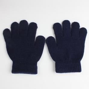 Winter warme handschoenen kinderen gebreide stretch wanten volledige vinger handschoen one size (Navy)