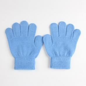 Winter warme handschoenen kinderen gebreid stretch wanten volledige vinger handschoen one size (hemelsblauw)