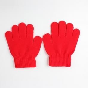 Winter warme handschoenen kinderen gebreid stretch wanten volledige vinger handschoen one size (rood)