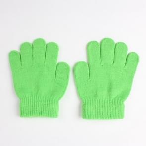 Winter warme handschoenen kinderen gebreid stretch wanten volledige vinger handschoen one size (groen)