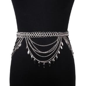Personalized Wild Alloy Tassel Waist Chain Belt, Length:80-100cm(Silver)