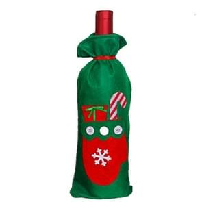 Santa Claus Gift Bags Christmas Wine Bottle Cover Candy Bag(Glove)