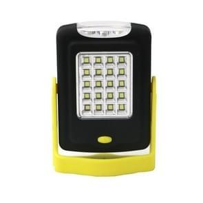23 Led's 2-standen draagbare LED Revisiewerk licht Outdoor Camping nood hand lamp met haak & houder (geel)
