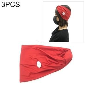 3 PCS Hoofdband Hoofddoek Sport Yoga Gebreide zweetabsorberende hair band met Masker Anti-leiband Button (Rood)