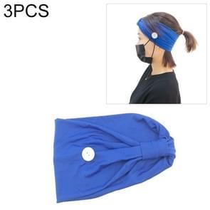 3 PCS Hoofdband Hoofddoek Sport Yoga Gebreide zweetabsorberende hair band met Masker Anti-leiband Button (Blauw)