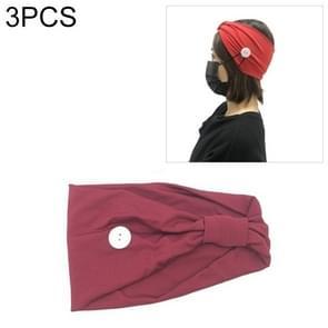 3 PCS Hoofdband Hoofddoek Sport Yoga Gebreide zweetabsorberende hair band met Masker Anti-leiband Button (Deep Red)