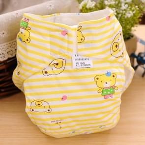 Cartoon Bear patroon Waterdicht ademend Baby katoen doek luier geel  maat: S