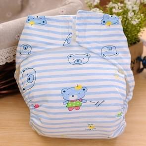 Cartoon Bear patroon Waterdicht ademend Baby katoen doek luier blauw  maat: L
