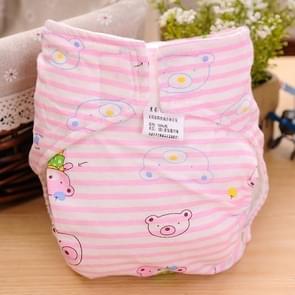 Cartoon Bear patroon Waterdicht ademend Baby katoen doek luier roze  maat: L
