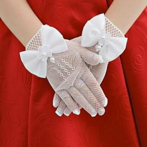 Dunne bloem meisjes bruiloft handschoenen mesh Bow-Knot handschoenen  één paar  grootte: 4-15 jaar oud (wit)