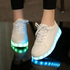 USB Charger Glowing Luminous Sneakers, Size:44(White)