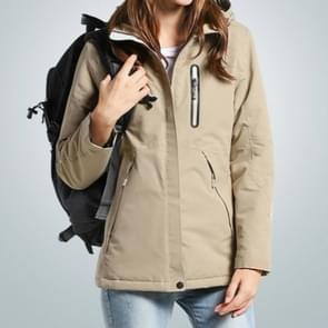 Herfst en winter mannen en vrouwen slimme verwarming jas koolstofvezel verwarming reizen jas  maat: L (vrouwen kaki)