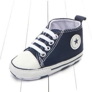 3 paar Canvas Classic Sport Sneakers Pasgeboren Baby jongens meisjes eerste wandelaars schoenen baby peuter zachte enige antislip babyslofjes  Baby leeftijd: 7-12 maanden (donkerblauw ster)