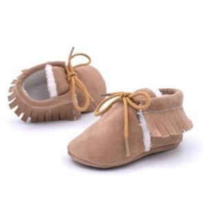 Baby mocassins schoenen Fringe zachte Soled non-slip schoeisel wieg schoenen PU Suede lederen eerste Walker schoenen  maat: 12cm (Khaki)
