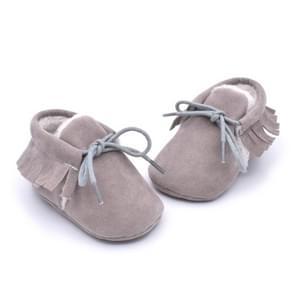 Baby mocassins schoenen franje zachte Soled non-slip schoeisel wieg schoenen PU Suede lederen eerste Walker schoenen  maat: 13cm (grijs)