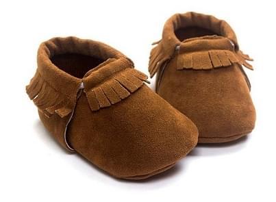 Pasgeboren baby PU Suede mocassins zachte schoenen Fringe zachte zolen schoenen eerste Walker 12.5 (bruin)
