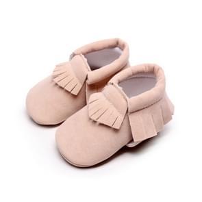 Pasgeboren baby PU Suede mocassins zachte schoenen Fringe zachte zolen schoenen eerste Walker 13.5 (roze)