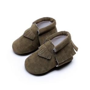 Pasgeboren baby PU Suede mocassins zachte schoenen Fringe zachte zolen schoenen eerste Walker 14.5 (leger groen)