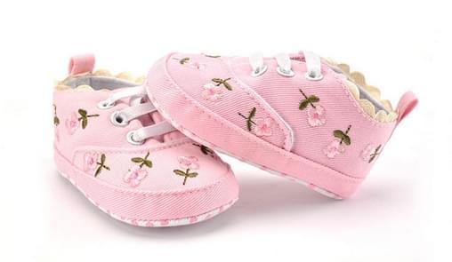 Baby meisje schoenen kant bloemen geborduurd zachte schoenen lopen peuter Kids schoenen  grootte: 13cm (roze)