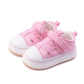 Breathable Baby Toddler Shoes for Boys and Girls Soft Canvas Shoes, Size:17(Pink)