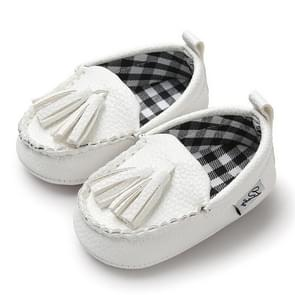 Eerste Wandelers pasgeboren baby peuter pre-Walker Boy Girl PU kwastje hanger lederen schoenen  baby leeftijd: 7-12 maanden (wit)